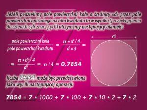SIEDEM w zależności pól powierzchni koła i kwadratu