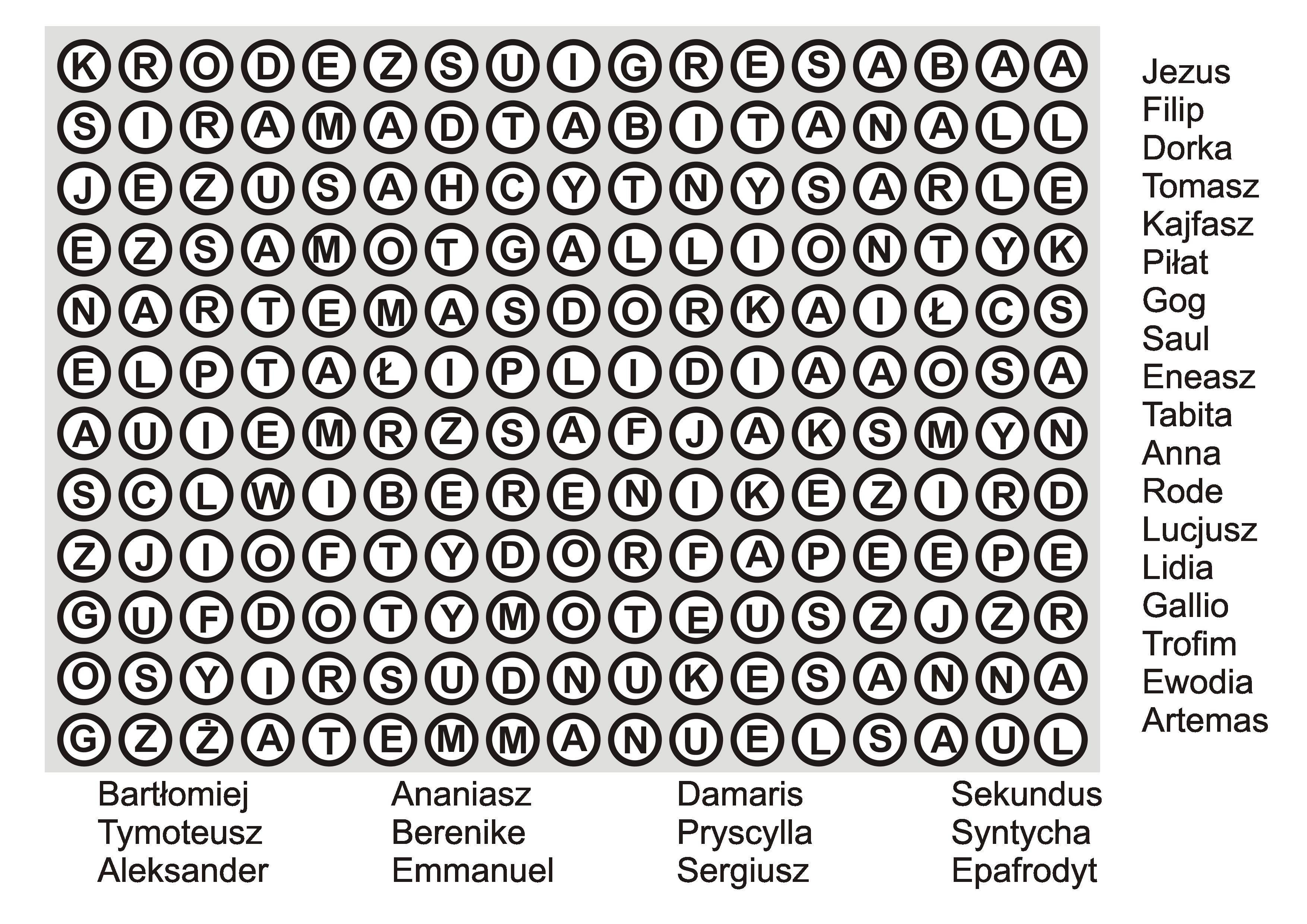Wykreślanka 2 - Imiona biblijne z Nowego Testamentu - poziom: łatwy