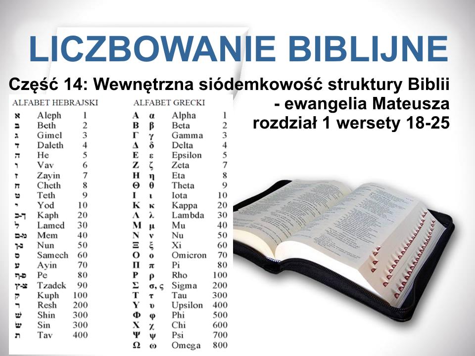 Wewnętrzna siódemkowość struktury Biblii - ewangelia Mateusza rozdział 1 wersety 18-25