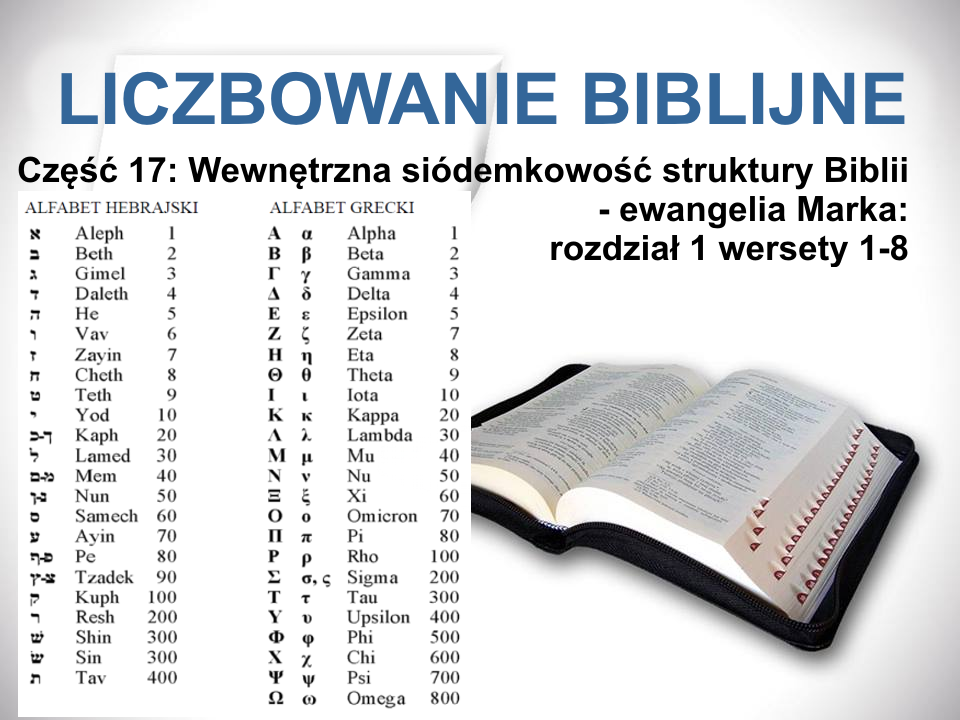 Wewnętrzna siódemkowość struktury Biblii - ewangelia Marka: rozdział 1 wersety 1-8