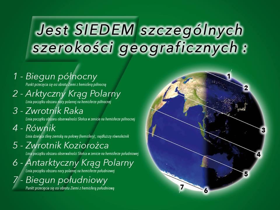 Jest SIEDEM szczególnych szerokości geograficznych