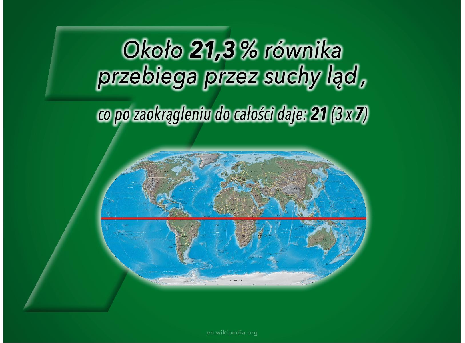Długość tej części równika, która przebiega przez ląd jest wielokrotnością SIEDEM